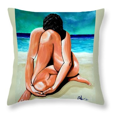Throw Pillow featuring the painting Alone With My Thoughts by Jackie Carpenter