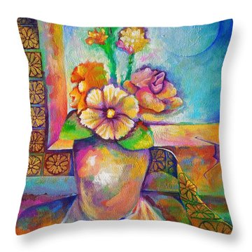 Alone With The Last Remaining Flowers Throw Pillow