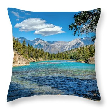 Along The Bow River Throw Pillow