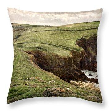 Along The Coast Path Throw Pillow