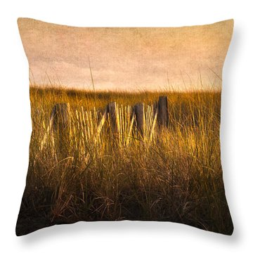 Along The Fence Throw Pillow by Bill Wakeley