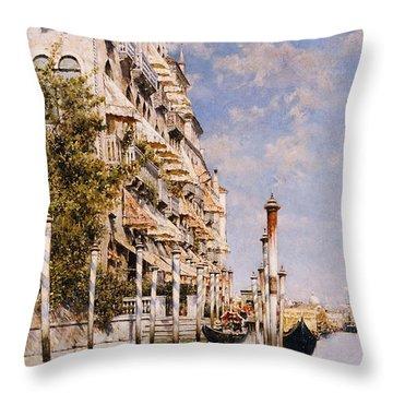 Along The Grand Canal Throw Pillow by Rafael Senet