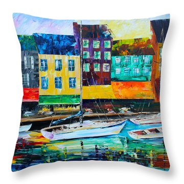 Along The Harbor Throw Pillow