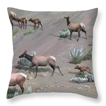 Along The Hillside Throw Pillow