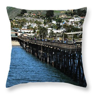 Throw Pillow featuring the photograph Along The Pier by Michael Gordon