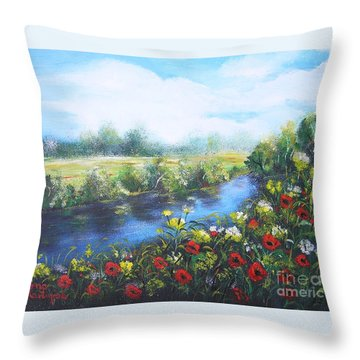 Throw Pillow featuring the painting Along The Poppy Valley by Vesna Martinjak