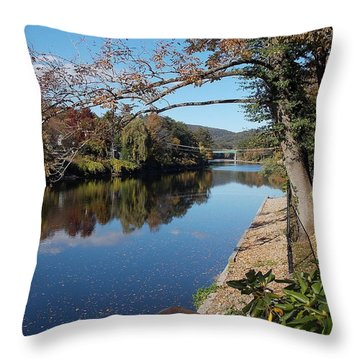 Along The River In Shelbourne Falls Throw Pillow
