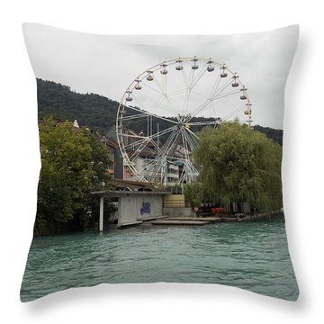 Along The River In Thun Throw Pillow