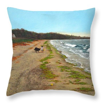 Along The Shore In Hyde Hole Beach Rhode Island Throw Pillow by Christopher Shellhammer
