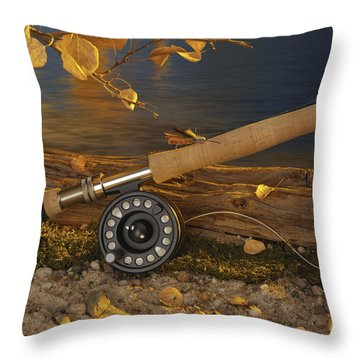 Along The Stream Throw Pillow by Jerry McElroy