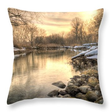 Along The Thames River  Throw Pillow