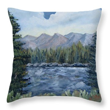 Throw Pillow featuring the painting Along The Way by Suzanne Theis