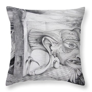 Throw Pillow featuring the drawing Alpha And Omega - The Reconstruction Of Bogomils Universe by Otto Rapp