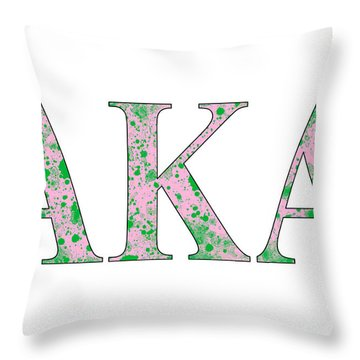 Throw Pillow featuring the digital art Alpha Kappa Alpha - White by Stephen Younts