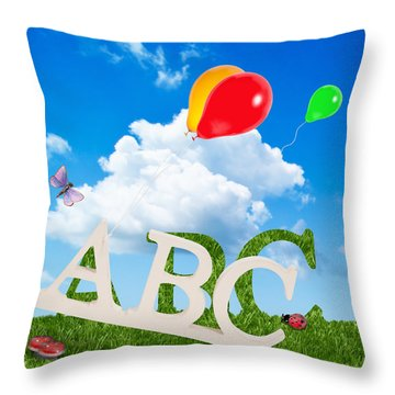 Alphabet Letters Throw Pillow by Amanda Elwell