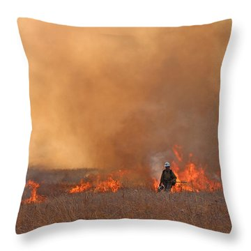 Alpine Hotshots Ignite The Norbeck Prescribed Fire. Throw Pillow