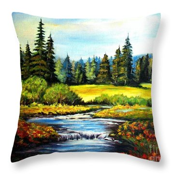 Throw Pillow featuring the painting Alpine Meadow by Hazel Holland