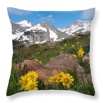Alpine Sunflower Mountain Landscape Throw Pillow