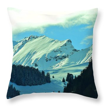 Alps Green Profile Throw Pillow