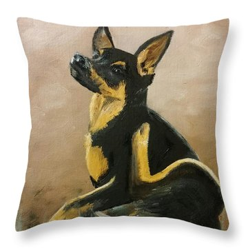 Alsatian Puppy Scratching Throw Pillow