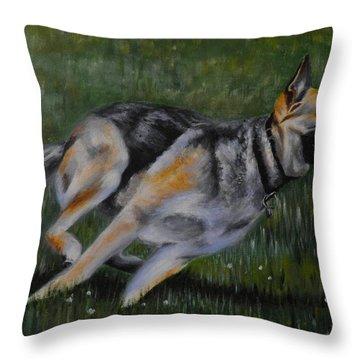 Alsation  Running Throw Pillow