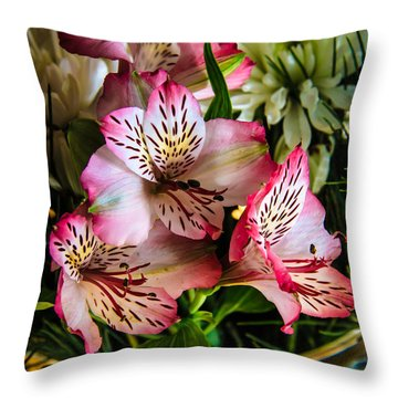 Alstroemeria Throw Pillow by Robert Bales
