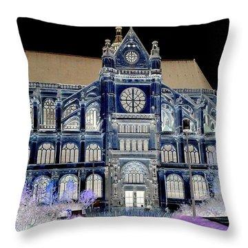 Altered Image Of Saint Eustache In Paris France Throw Pillow by Richard Rosenshein