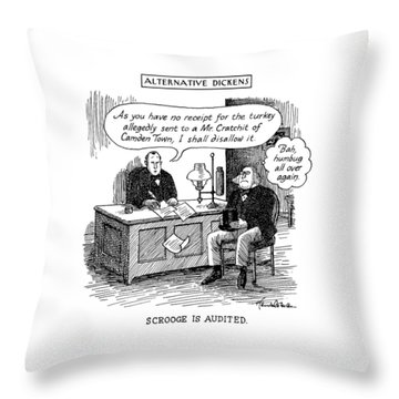 Alternative Dickens Scrooge Is Audited. Auditor: Throw Pillow