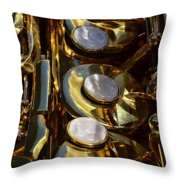 Alto Sax Reflections Throw Pillow by Ken Smith