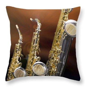 Alto Tenor Baritone Saxophone Photo In Color 3461.02 Throw Pillow