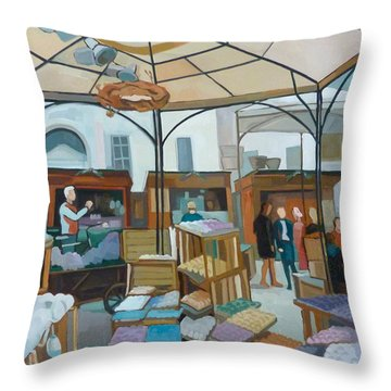 Altwiener Ostermarkt Throw Pillow by Carmen Stanescu Kutzelnig