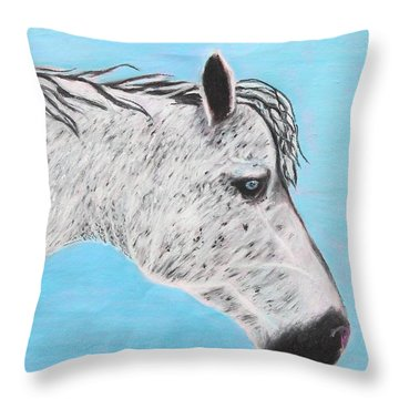 Throw Pillow featuring the painting Alvaro Stallion by Jeanne Fischer