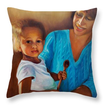 Throw Pillow featuring the painting Always In Her Heart And In Her Hands by Marlene Book