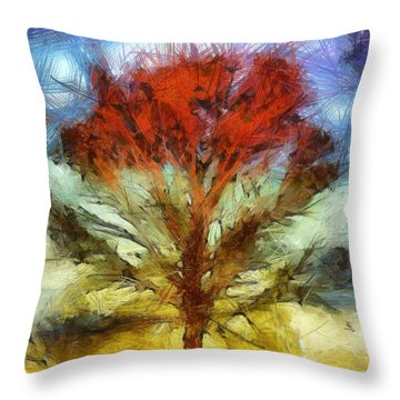 Throw Pillow featuring the drawing Always Reaching Up by Joe Misrasi