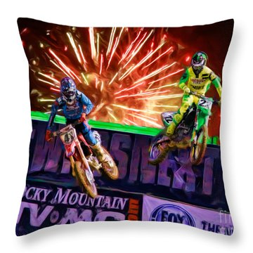 Ama 450sx Supercross Trey Canard Leads Chad Reed Throw Pillow