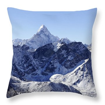 Ama Dablam Mountain Seen From The Summit Of Kala Pathar In The Everest Region Of Nepal Throw Pillow by Robert Preston