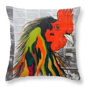 Throw Pillow featuring the painting Amadeo The Tuscan Rooster by Janice Rae Pariza
