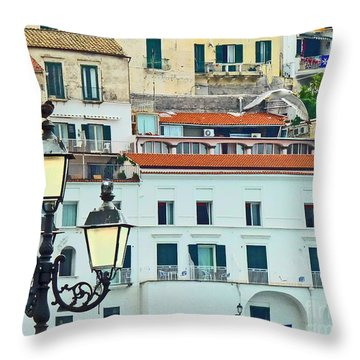 Throw Pillow featuring the photograph Amalfi Birds And Lamps by Cheryl Del Toro