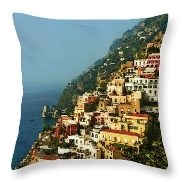 Positano Impression Throw Pillow