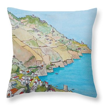 Throw Pillow featuring the painting Amalfi Coast Praiano Italy by Mary Ellen Mueller Legault