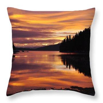 Amalga Harbor Sunset Throw Pillow
