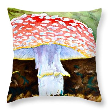 Amanita And Lacewing Throw Pillow by Beverley Harper Tinsley
