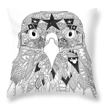 Amarican Eagle Black White Throw Pillow