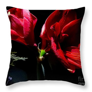 Amaryllis Duet Throw Pillow