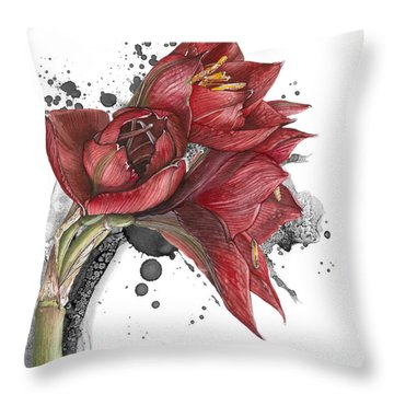 Amaryllis Flowers - 2. -  Elena Yakubovich Throw Pillow
