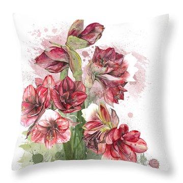 Amaryllis Flowers - 4. - Elena Yakubovich Throw Pillow