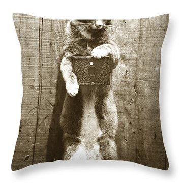 Throw Pillow featuring the photograph Amateur Feline Fotografer Cat With A Box Camera  Historical Photo 1900 by California Views Mr Pat Hathaway Archives