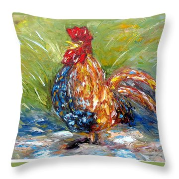 Amazed Rooster Throw Pillow
