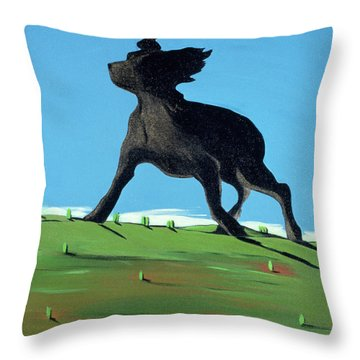 Amazing Black Dog, 2000 Throw Pillow by Marjorie Weiss