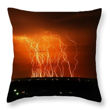 Amazing Lightning Cluster Throw Pillow